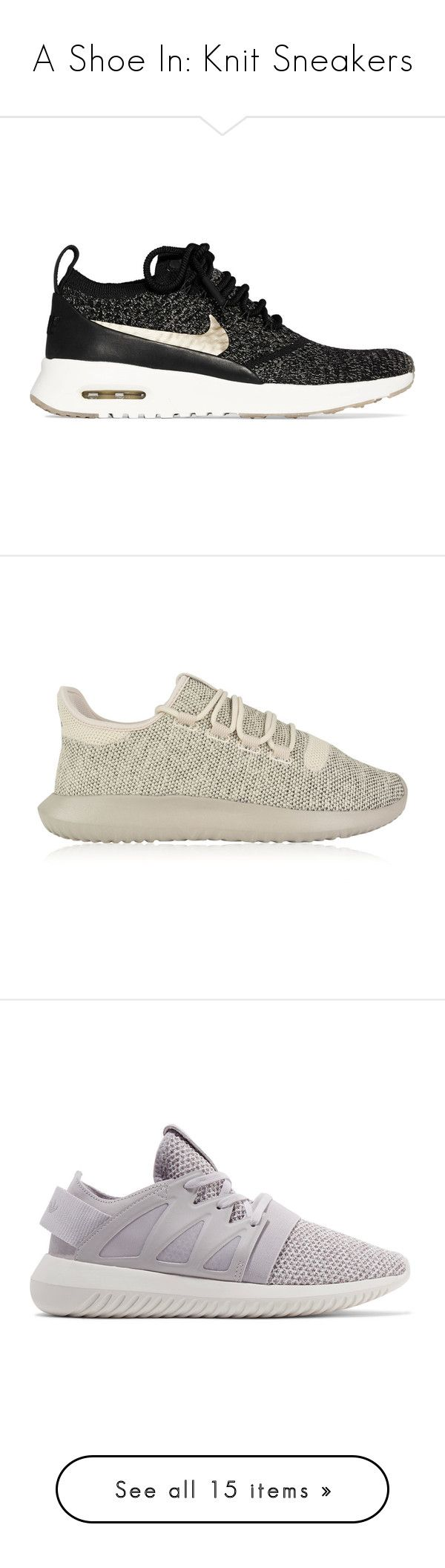 """""""A Shoe In: Knit Sneakers"""" by polyvore-editorial ❤ liked on Polyvore featuring knitsneakers, shoes, sneakers, black, black flyknit trainer, black lace up sneakers, nike sneakers, black leather trainers, nike shoes and fleece-lined shoes"""