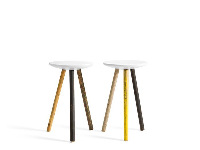 Marble side tables with legs from reclaimed broom handles
