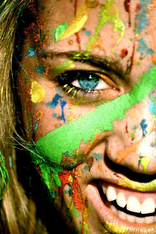 I like the use of bright colours on the face and this has inspired me to look at face paint and experiment with this idea.