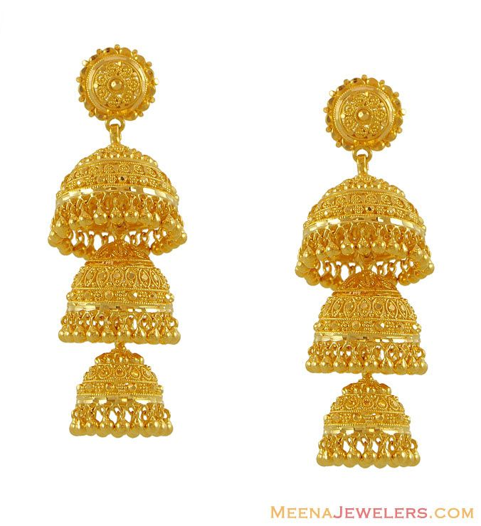 Designer Jhumki Earrings Gold With Filigree Work Designed Beautifully Style In High Shine Frosty Fin