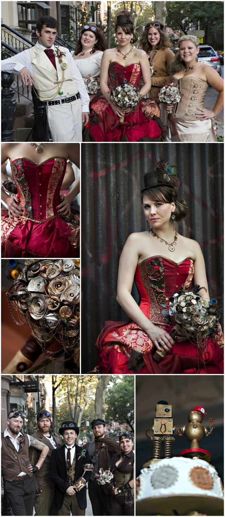 Steampunk wedding, themed celebration, red corset wedding dress, 1800's style // Photomuse