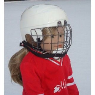 Hockey Helmet: Léonie always wears her helmet when playing hockey with Les Félines du St. Laurent, or when just skating on the neighbourhood outdoor rink. This helmet with face mask is just like a real helmet, but sized to fit all Maplelea Girls. In her journal pages, Léonie shares some interesting points about NHL hockey helmet rules as well as some helpful tips on how to best fit your doll with her helmet.