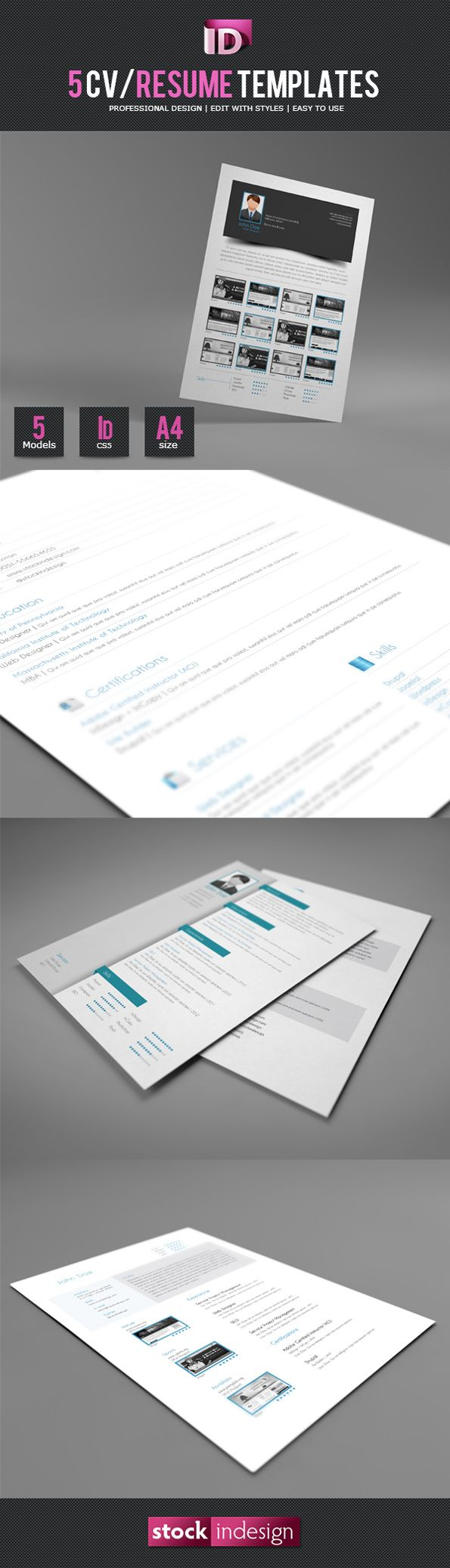 5 CVResume InDesign Templates 23 best Indesign