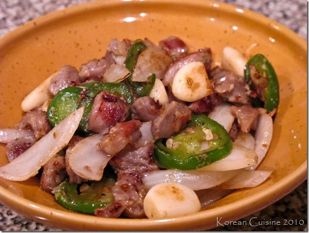 Chicken Gizzard Stir-Fry with Garlic, Onion, and Jalapeno *** -Equal amounts of Gizzard and Liver.
