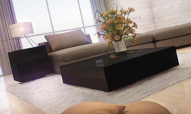 Conjunto para Sala de Estar com mesa de centro e mesa lateral Preto - Dalla Costa