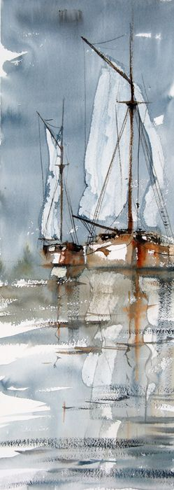 Watercolor sailboats (the artist found a fun balance between impressionism and…