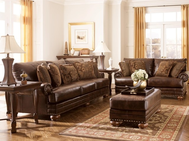 This Traditional Hamilton Leather Sofa Has Nailhead Accents And Plenty Of Soft Fringed Toss