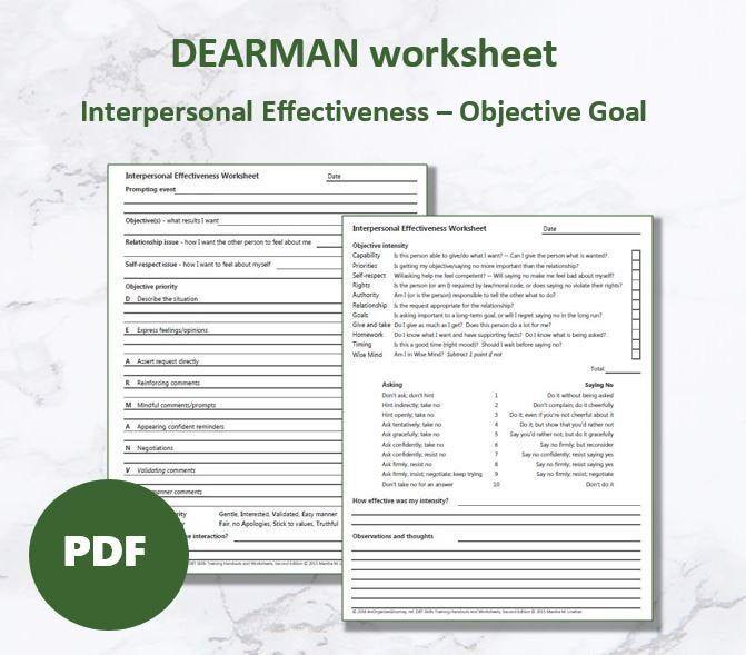 DEARMAN   DBT Interpersonal Effectiveness worksheet in ...