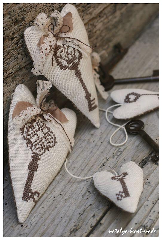 hearts with x-stitch keys. Like it.