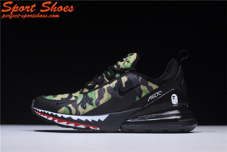 the latest 1f1a0 73296 2018 Latest Nike Air Max 270 Black Green Shark Camo AH6799-003 Mens Shoe