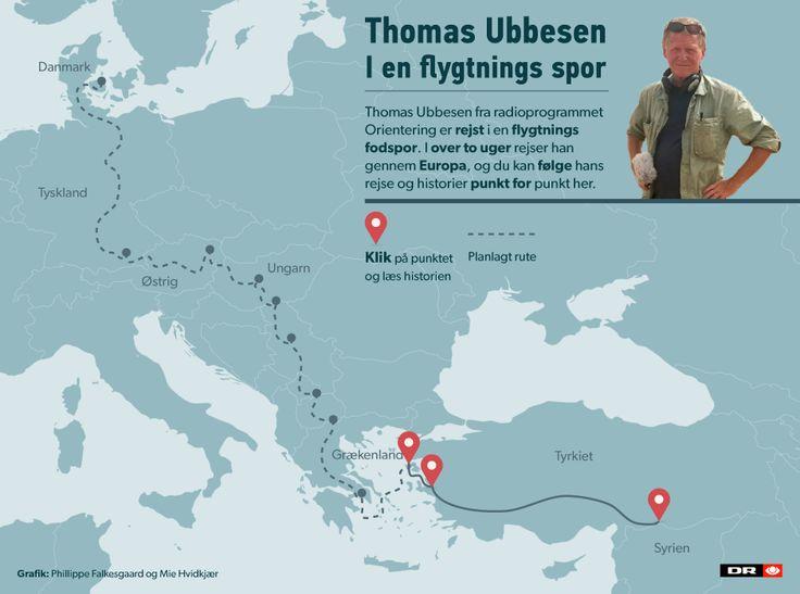 Thomas Ubbesen fra radioprogrammet Orientering er rejst i en flygtnings fodspor. I over to uger rejser han gennem Europa, og du kan følge hans rejse her.