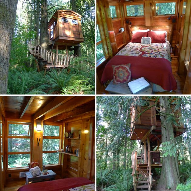 Whimsical Treehouse Point Getaway in Issaquah, WA One of the forest based locations in Issaquah, Washington provides various treehouses to give users a different, pleasurable stay each time.