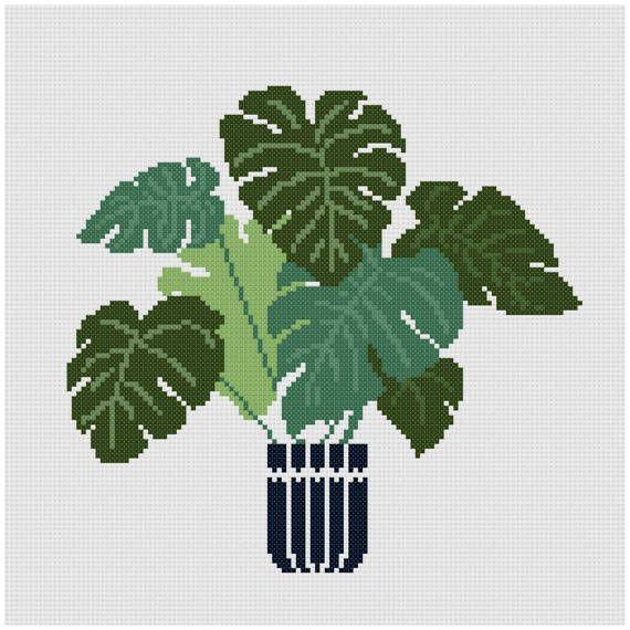flowers Cross stitch pattern floral modern home plant fern