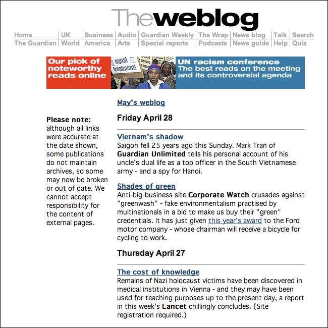 Web Log is daily updated webmaster blog featuring topics including blogging tips, search engines, web hosting, domains, web design & development.