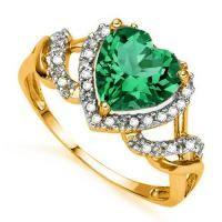 FASCINATING ! 1.37 CARAT RUSSIAN EMERALD & 1/5 CARAT (21 PCS) DIAMOND 10KT SOLID GOLD RING