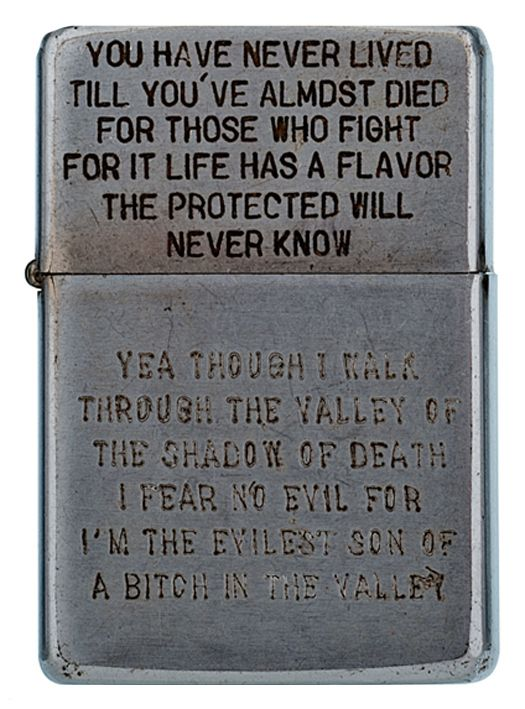 """<b>This collection of Vietnam War lighters was assembled and sourced by Bradford Edwards for his book """"<a href=""""http://www.amazon.com/dp/0226078280/?tag=buzz0f-20"""" target=""""_blank"""">Vietnam Zippos</a>"""" and the 282 lighters were recently available for auction.</b> The engravings range from sentimental to shocking, and together they paint a unique, personalized picture of the U.S. troops during Vietnam."""