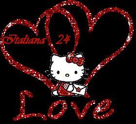 Hello Kitty Gif de corazones.