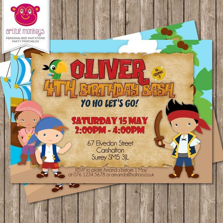 wording for party invitations uk%0A Personalised Jake  u     The Neverland Pirates Inspired Invitation  DIY  Printable or Printed for You by