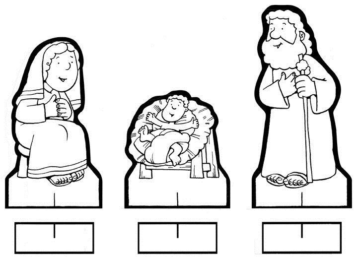 Figuras Recortables De Belen Maria Jose Y Jesus Nacimiento