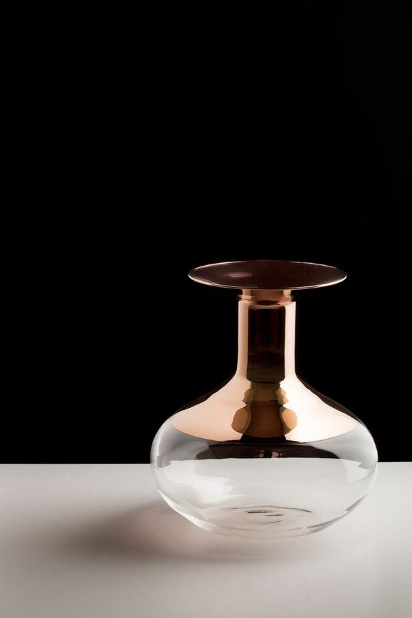 Tapio Wirkkala: Glass Vases with Copper Accents in home furnishings Category