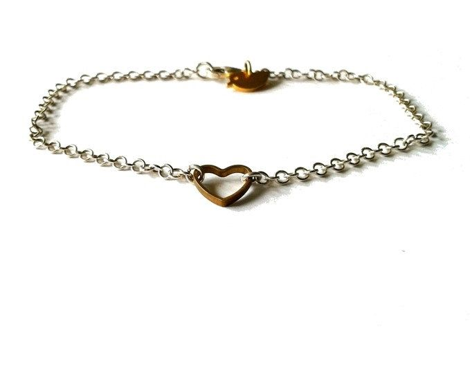 Pretty Birds Creations - Sterling Silver and Brass Heart Bracelet