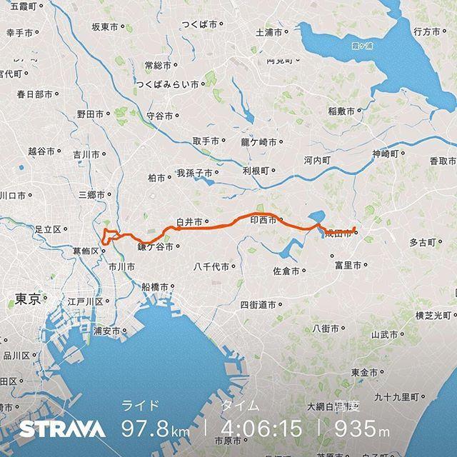 柴又R464成田山R464水元柴又 97.8km4時間8分23.8km/h2377kcal 行きは初めて2時間を切ったが帰りはR464がずっと向かい風できつかった #自転車 #ロードバイク #strava #成田