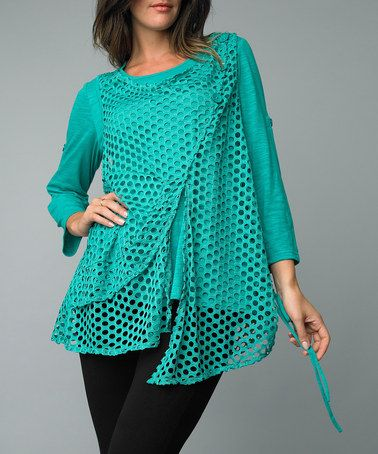 Kinda coo - Take a look at this Jade Mesh Layered Top by Kaktus on #zulily today!