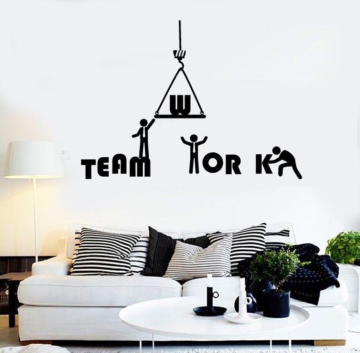 Vinyl Wall Decal Teamwork Word Office Inspiration Stickers Mural (ig4300)