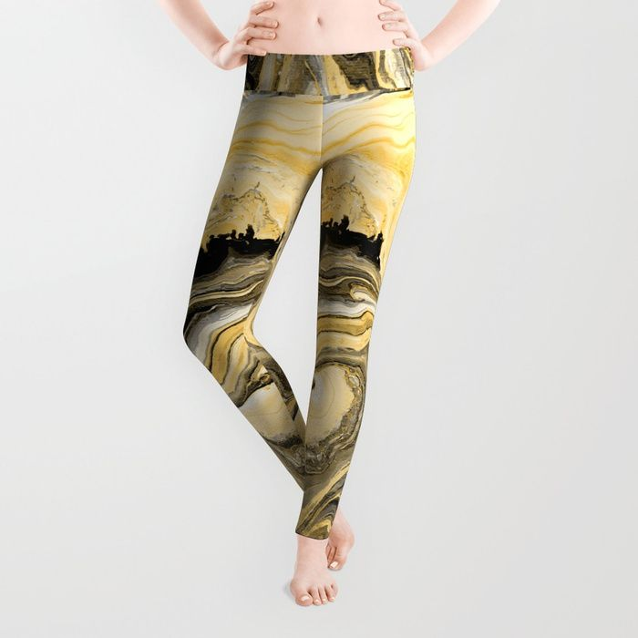 Painted Gold leggings by Fimbis     Fluid art, painting, golden, marble, paint, yoga, leggings, yoga pants, fashionista,__________ Our proprietary six-panel cut and sew construction provides an unprecedented quality in fit and versatility with an adjustable waist line for wearing high, low or somewhere in between.