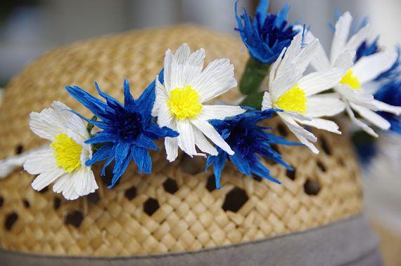 Floral crown Daisy Cornflower crown Paper Flower Wreath