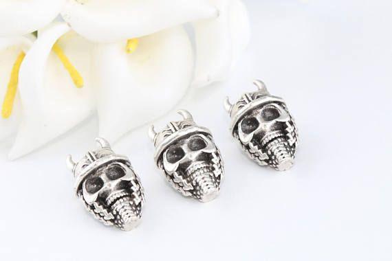 Skull Bead Antique Silver BeadSkull CharmBracelet