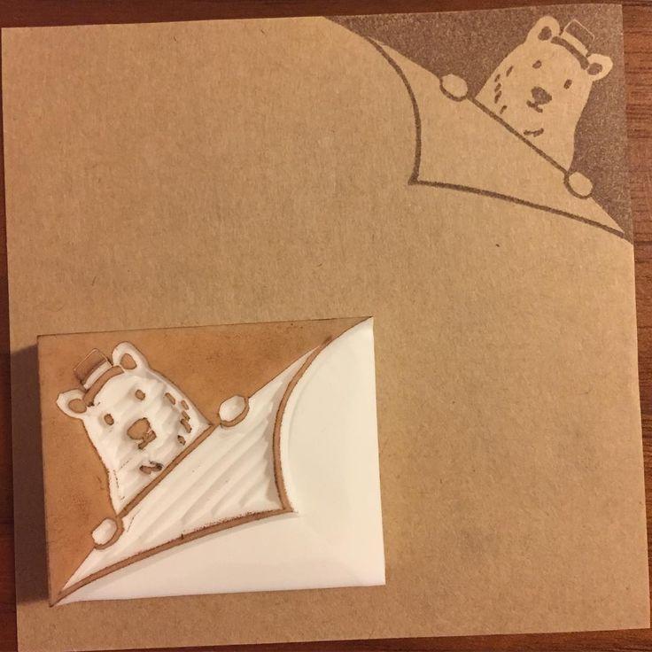 #消しゴムはんこ#はんこ#EraserStamp#stamp#craft#イラスト#illustration#ハンドメイド#handmade#手作り#雑貨#白熊#bear#角#corner