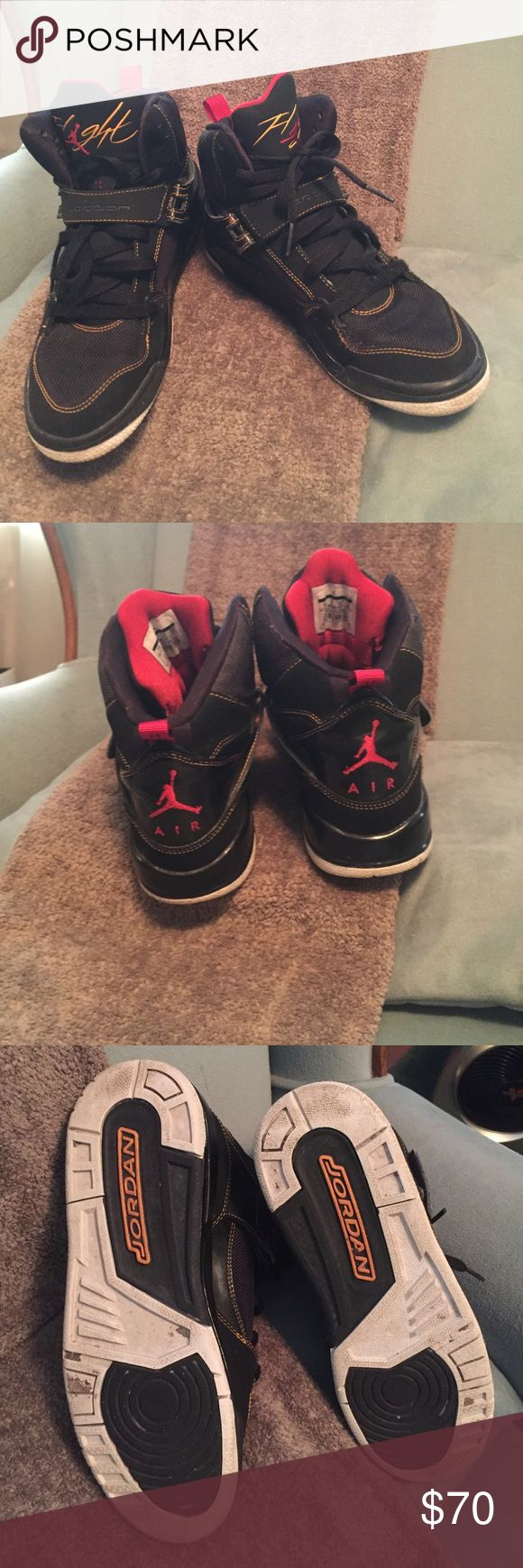 JORDAN Flight Black with gold trim, Removable strap, high top, size 7y Great used condition. Taken Reasonable Offers Jordan Shoes Sneakers