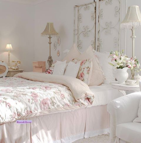 shabby chic bedroom with a metal screen headboard - Shabby Chic Decor Bedroom