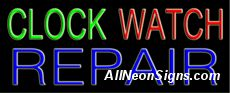 """Clock Watch Repair Neon Sign-10529-5298  13"""" Wide x 32"""" Tall x 3"""" Deep  110 volt U.L. 2161 transformers  Cool, Quiet, Energy Efficient  Hardware & chain are included  6' Power cord  For indoor use only  1 Year Warranty/electrical components  1 Year Warranty/standard transformers."""