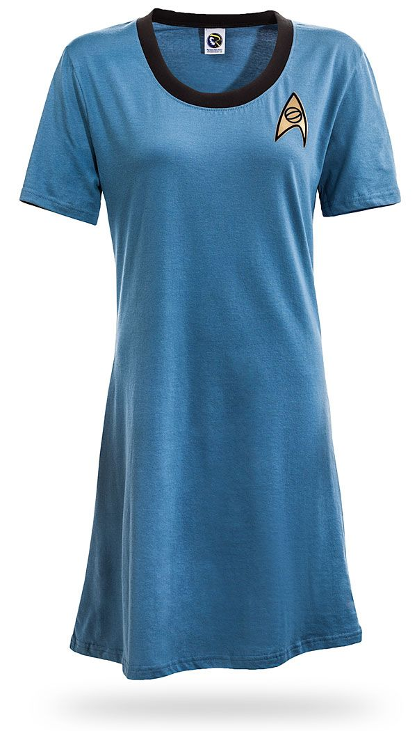 I would wear this as a night gown!  Star Trek Original Series T-Shirt Dress - Sciences Blue