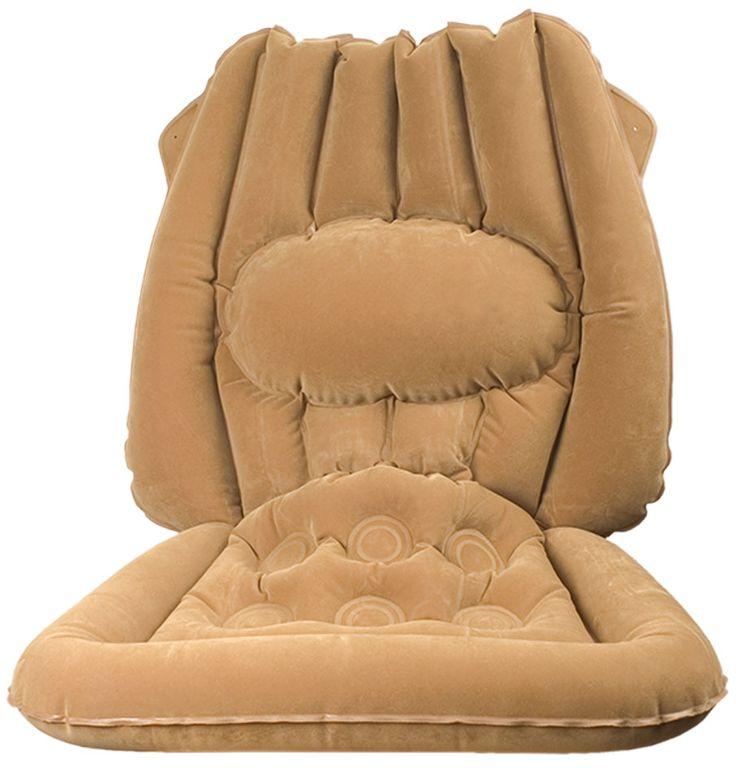 Opblaasbaar kussen  Description: Vooral tijdens lange autoritten zult u merken dat uw autostoel niet comfortabel zit. Stijve spieren in uw rug zijn het gevolg. Leg dit opblaasbaar kussen op uw stoel en u kunt voortaan heerlijk ontspannen rijden. Afm.: 85 x 60 cm.  Price: 16.99  Meer informatie