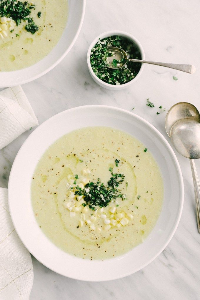 This recipe for sweet corn soup with gremolata captures everything I love about summer - tender sweet corn, fresh savory herbs, bright flavor, and endless nostalgia. It's an easy weeknight meal that is naturally vegetarian and gluten-free.