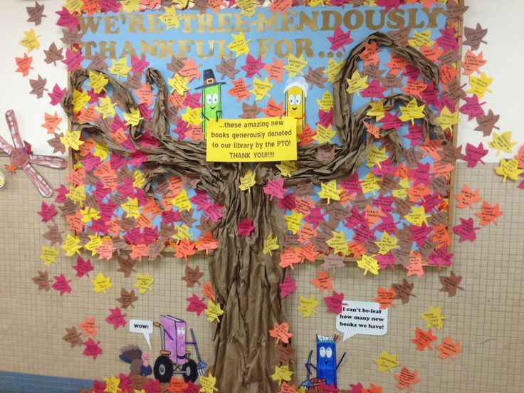 Innovative Elementary Classroom Ideas ~ Thanksgiving elementary school library bulletin board