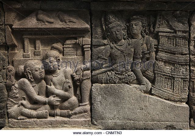 Relief from Prambanan Temple near Yogyakarta, Central Java, Indonesia. - Stock Image