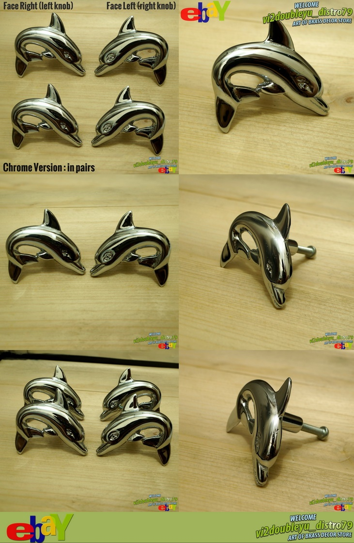 2 PAIR Right & Left NEW CHROME DOLPHIN Cabinet Door Brass KNOB Drawer Pull, Lovely and GREAT GIFT for your Cabinet or home decor. #flyer #Knob #Drawer #Brass #Antique #Vintage #Home_decor