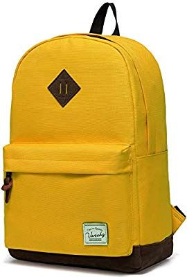Amazon.com  Vaschy Unisex Classic Water Resistant School Backpack Bookbag  for College Fits 14Inch Laptop Yellow  VaschyDirect 5580c2994bf2b