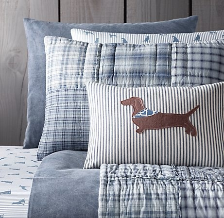 Stonewashed Cotton & European Dog Silhouette Bedding Collection   Bedding Collections   Restoration Hardware Baby & Child