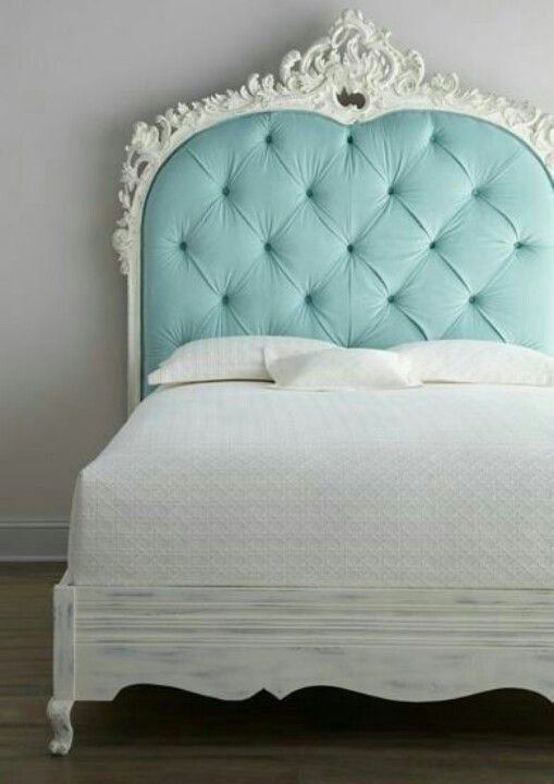 love the chalk painted bed frame - Blue Bed Frame