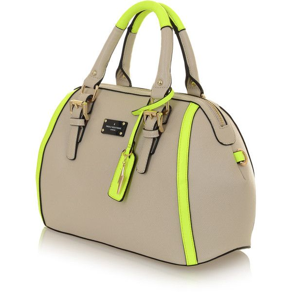 Bailey Bowler Bag Stone/Neon Yellow (185 CAD) ❤ liked on Polyvore featuring bags, handbags, bowler bag, bowler handbag, neon handbags, summer purses and yellow handbag
