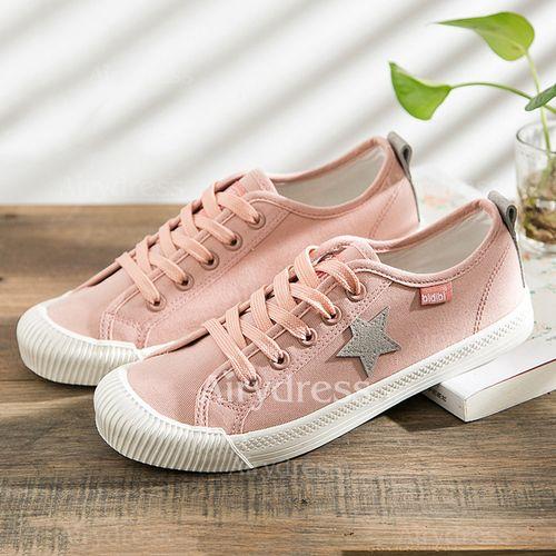 Zapatos Planos De mujer Cerrados Zapatillas Lona Tacón plano (1149606) @