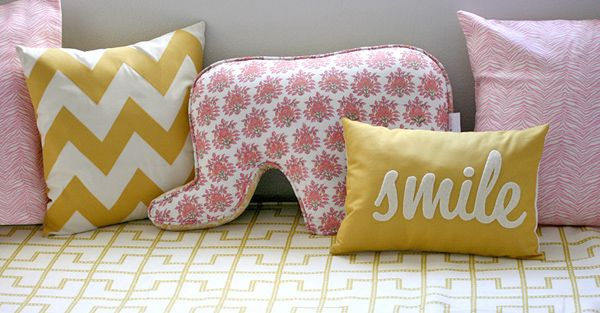 pink and yellow pillows: Girls, Pink Yellow, Baby Girl, Elephant Pillow, Pillows, Girl Rooms, Kid