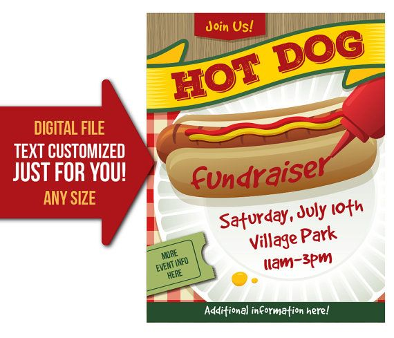 hot dog fundraiser event hot dog lunch picnic church flyer wiener roast invite printable poster customized invitation postcard my print