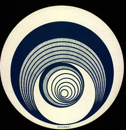 Rotorelief or Escargot 1935.  Marcel Duchamp (1887-1968) French painter, sculptor and writer. His art and ideas have served to exemplify the range of possibilities inherent in a more conceptual approach to the art-making process. Not only is his work of historical importance—from his early experiments with Cubism to his association with Dada & Surrealism—but his conception of the ready-made decisively altered our understanding of what constitutes an object of art.