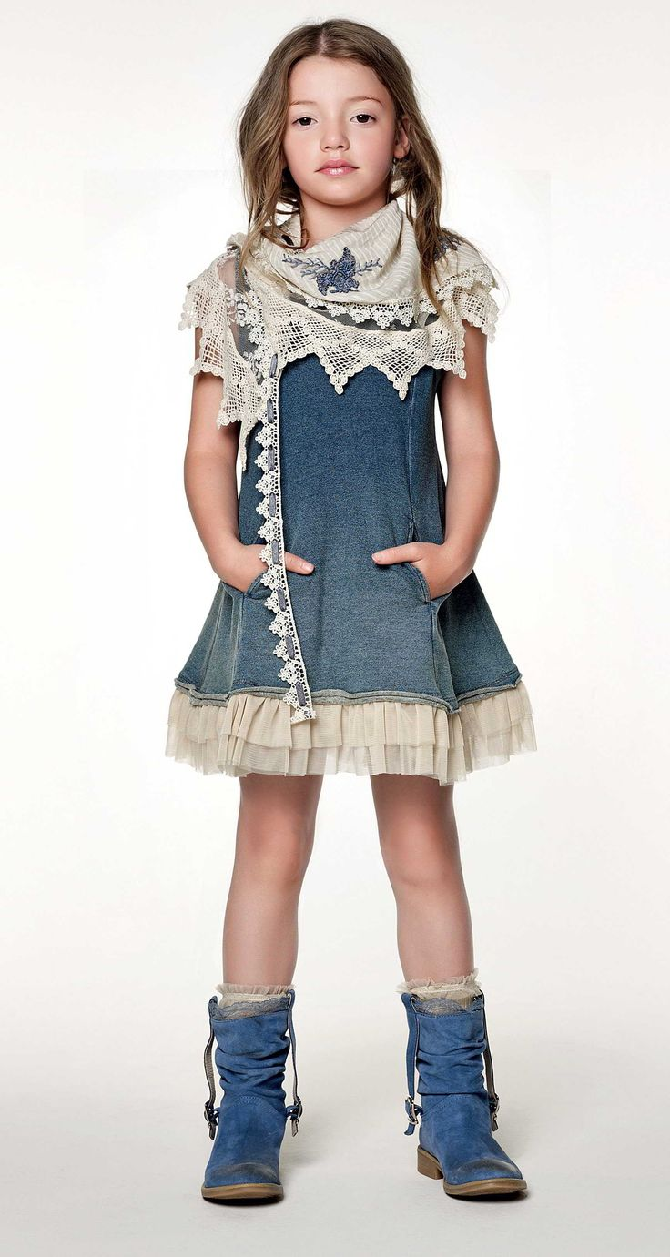 TWIN-SET Girl collection: Plush dress with tulle flounces, embroidered kefia and biker boots